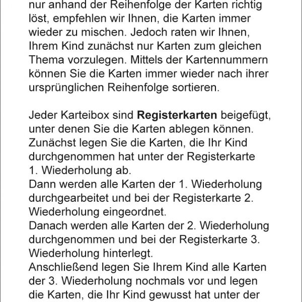 Karteikarten Deutsch Kl.2, vierfarbig, Deutsch
