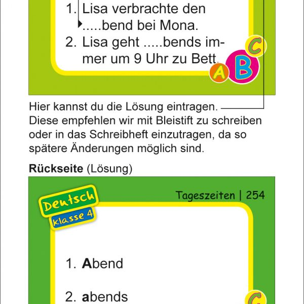 Karteikarten Deutsch Kl.4, vierfarbig, Deutsch