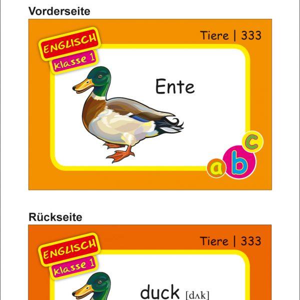 Karteikarten Englisch Kl.1, vierfarbig, Englisch