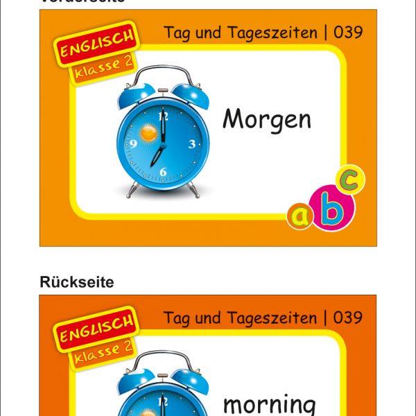 Karteikarten Englisch Kl.2, vierfarbig, Englisch
