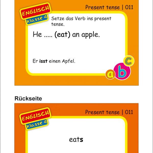 Karteikarten Englisch Kl.4, vierfarbig, Englisch