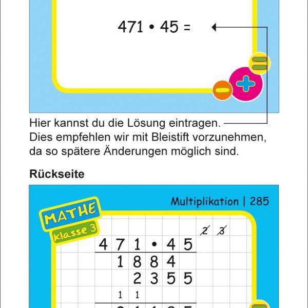 Karteikarten Mathe Kl.3, vierfarbig, Mathe